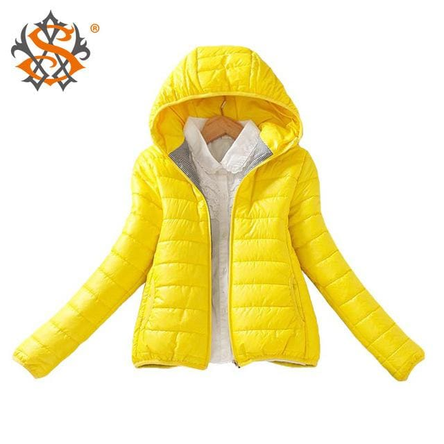 Solid Color Zipper Hooded Women Spring Jacket 2018 New Fashion Autumn Winter Slim Warm Ladies Coats Yellow / M
