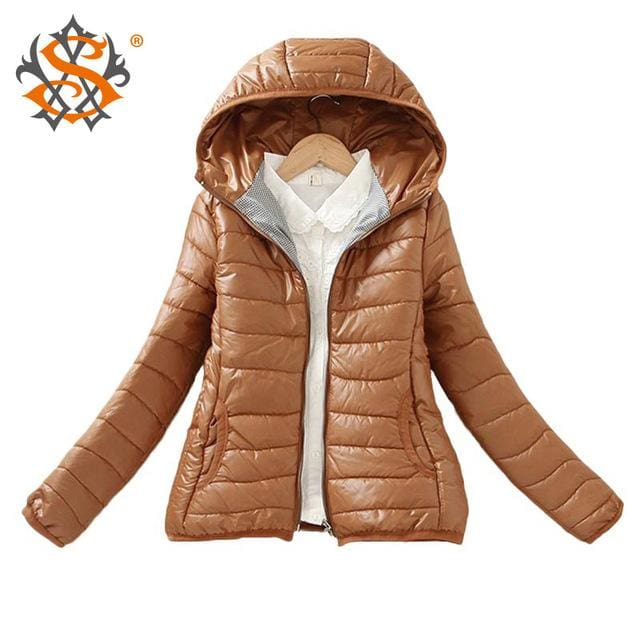Solid Color Zipper Hooded Women Spring Jacket 2018 New Fashion Autumn Winter Slim Warm Ladies Coats Coffee / M