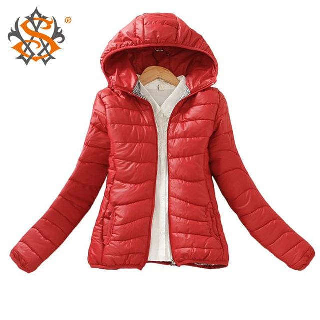 Solid Color Zipper Hooded Women Spring Jacket 2018 New Fashion Autumn Winter Slim Warm Ladies Coats Wine Red / M