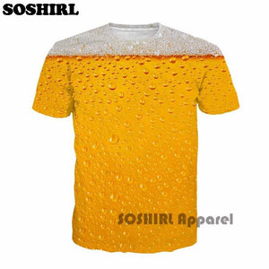 SOSHIRL Cool Summer Beer Full Print T Shirt Novelty Short Sleeve Tee Top Man Unisex Outfit High - MBMCITY