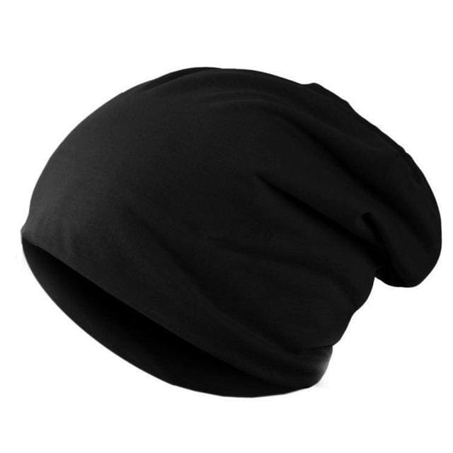 Spring Fashion Men Knitted Winter Cap Casual Beanies For Men Solid Color Hip-Hop Slouch Skullies Black