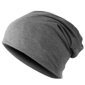 Spring Fashion Men Knitted Winter Cap Casual Beanies For Men Solid Color Hip-Hop Slouch Skullies Dark Grey
