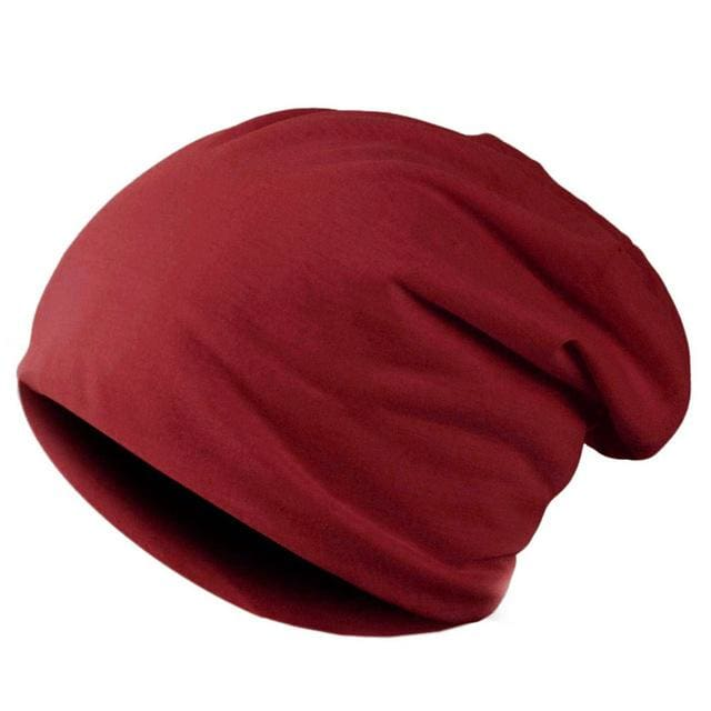 Spring Men Women Knitted Winter Cap Chapeu Casual Beanies for Men Solid Hip-hop Slouch Skullies Red