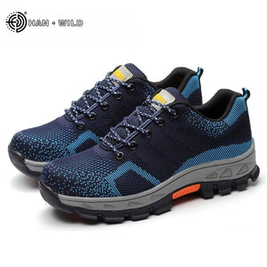 Spring Summer Work Shoes Men Fahion Mesh Breathable Steel Toe Casual Boots Labor Insurance Mens - MBMCITY
