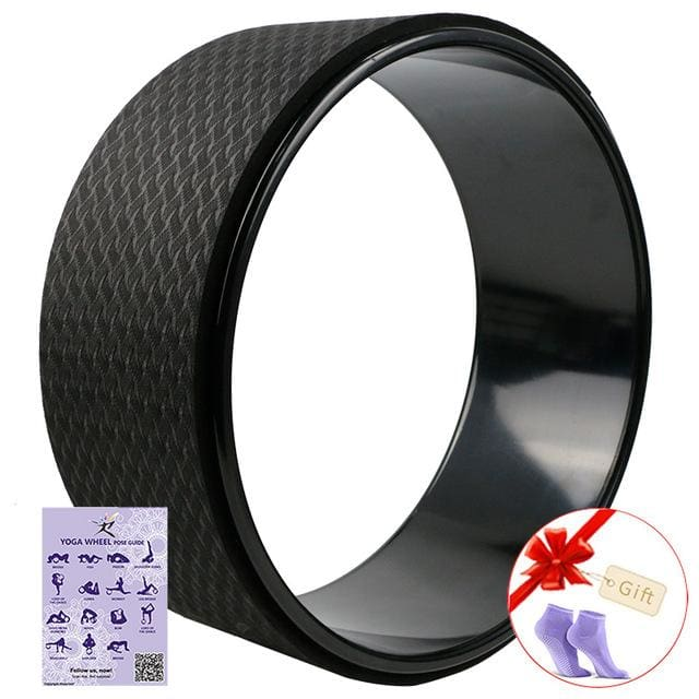 Starry Yoga Wheel Strongest & Most Comfortable Dharma Yoga Prop Wheel For Stretching and Improving Black