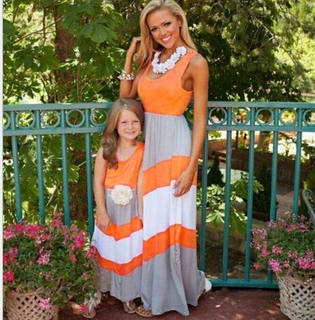 Summer New fashion hot sale Family Matching Outfits Mother and daughter outfit  striped dress - MBMCITY
