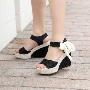Summer New Sweet Flowers Buckle Open Toe Wedge Sandals Floral high-heeled.