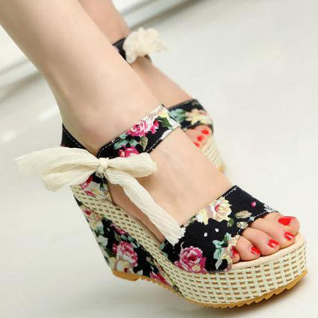 Summer New Sweet Flowers Buckle Open Toe Wedge Sandals Floral high-heeled - MBMCITY