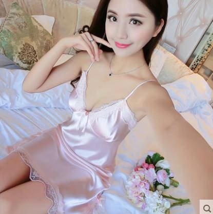 Summer Spaghetti Strap Nightgown Female Silk Sexy Temptation Lace Sleepwear Plus Size Loose 170202 / L