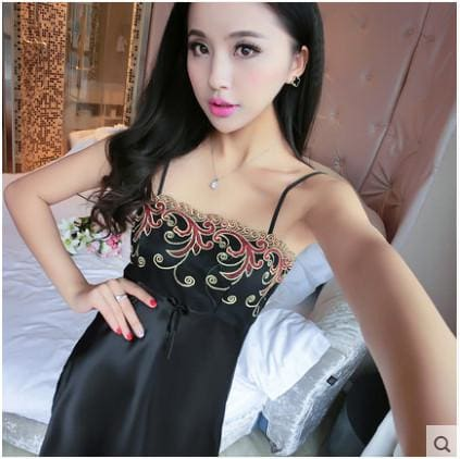 Summer Spaghetti Strap Nightgown Female Silk Sexy Temptation Lace Sleepwear Plus Size Loose 161202 / L