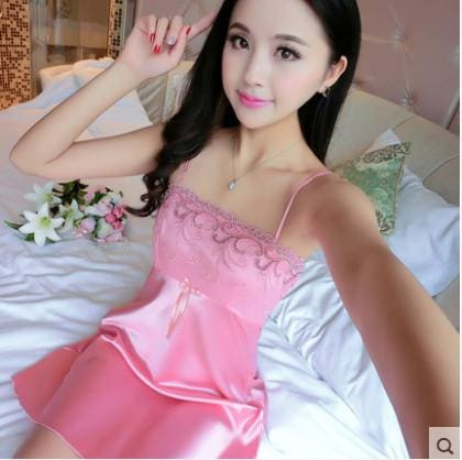 Summer Spaghetti Strap Nightgown Female Silk Sexy Temptation Lace Sleepwear Plus Size Loose 161205 / L