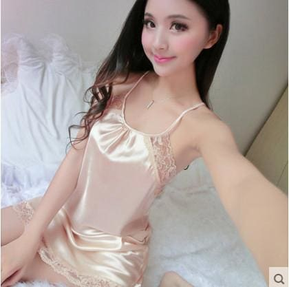 Summer Spaghetti Strap Nightgown Female Silk Sexy Temptation Lace Sleepwear Plus Size Loose 80802 / L
