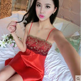 Summer Spaghetti Strap Nightgown Female Silk Sexy Temptation Lace Sleepwear Plus Size Loose 161204 / L
