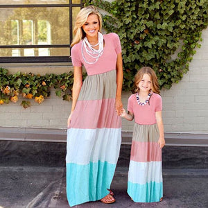 Summer Style Family Matching Outfits mother daughter dresses Contrast Color blue A-Line Dress