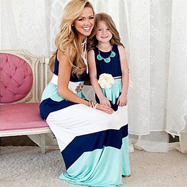 Summer Style Family Matching Outfits mother daughter dresses Contrast Color blue A-Line Dress - MBMCITY