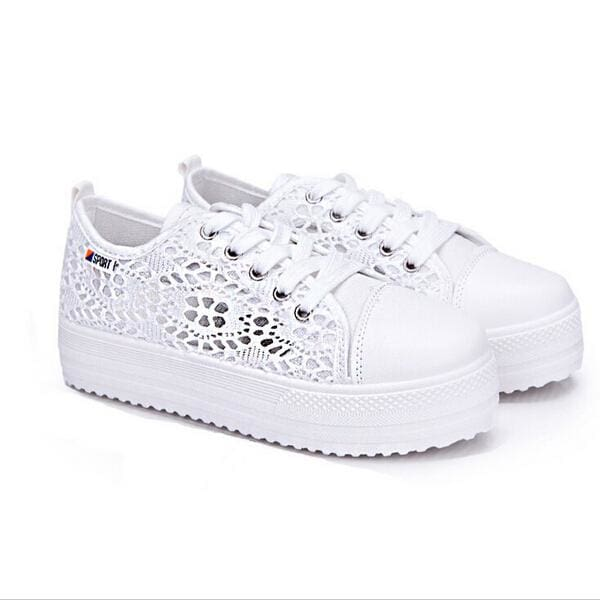 Summer Women Shoes Casual Cutouts Lace Canvas Shoes Hollow Floral Breathable Platform Flat Shoe