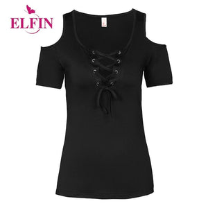 Summer Women T Shirt Solid Color With Lace Up Bandage Criss Cross Casual Short Sleeve Tshirt Cold