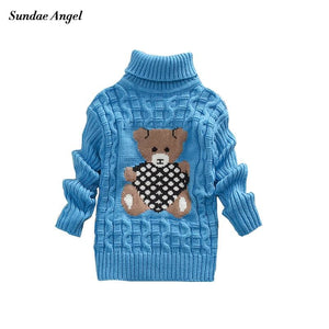 Sundae Angel Casual Boy Girl Sweaters For Kids Long Sleeve Wool Turtleneck Cartoon Pattern Spring