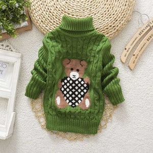 Sundae Angel Casual Boy Girl Sweaters For Kids Long Sleeve Wool Turtleneck Cartoon Pattern Spring As picture 4 / 12M