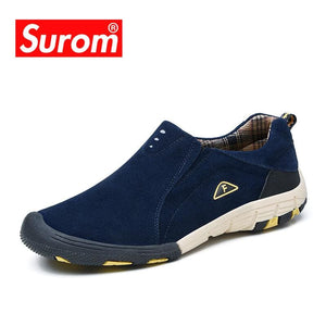 SUROM Brand real leather mens Casual Shoes 2018 Hot Sale Slip On Loafers Men Fashion Sneakers Spring