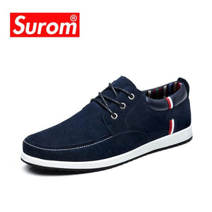 SUROM Men's Leather Casual Shoes Moccasins Men Loafers Luxury Brand Spring New Fashion Sneakers Male