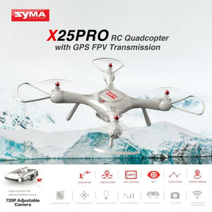 Syma X25PRO 2.4G GPS Positioning FPV RC Drone Quadcopter with 720P HD Wifi Adjustable Camera - MBMCITY