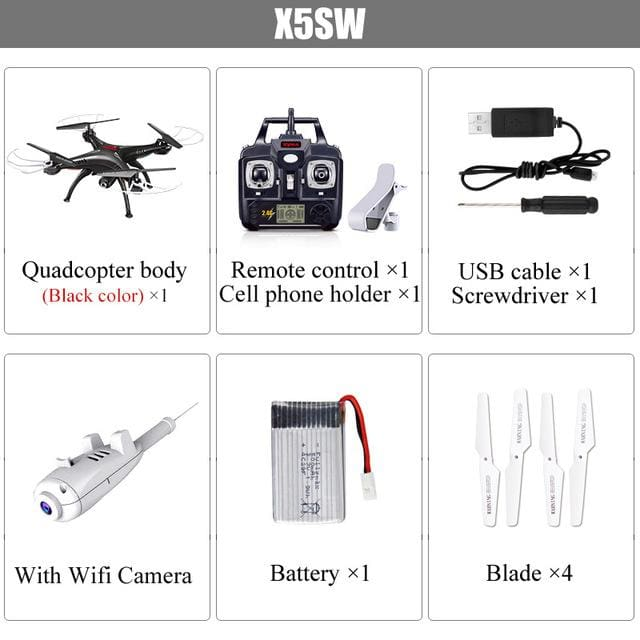 SYMA X5SW Drone With Camera Quadcopter HD Camera Wifi FPV Real-time 2.4G 4CH Remote Control - MBMCITY