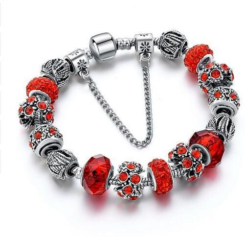 Szelam 2017 New Crystal Beads Bracelets Bangles Silver Plated Charm Bracelets For Women Friendship Red