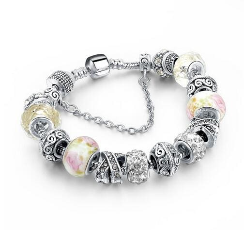 Szelam 2017 New Crystal Beads Bracelets Bangles Silver Plated Charm Bracelets For Women Friendship SBR160014WH