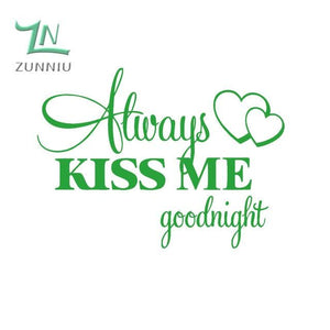 T06014 Romantic Mural Love Vinyl Wall Stickers Bedroom Quotes decals Always Kiss Me Goodnight Home Light Green / 42x57cm
