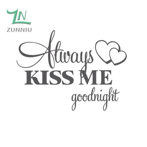 T06014 Romantic Mural Love Vinyl Wall Stickers Bedroom Quotes decals Always Kiss Me Goodnight Home Dark Grey / 42x57cm