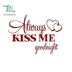 T06014 Romantic Mural Love Vinyl Wall Stickers Bedroom Quotes decals Always Kiss Me Goodnight Home Dark Red / 42x57cm
