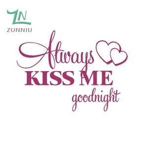 T06014 Romantic Mural Love Vinyl Wall Stickers Bedroom Quotes decals Always Kiss Me Goodnight Home Fuchsia / 42x57cm