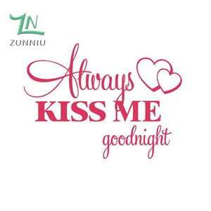 T06014 Romantic Mural Love Vinyl Wall Stickers Bedroom Quotes decals Always Kiss Me Goodnight Home Blush / 42x57cm