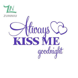 T06014 Romantic Mural Love Vinyl Wall Stickers Bedroom Quotes decals Always Kiss Me Goodnight Home Purple / 42x57cm