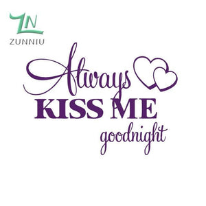 T06014 Romantic Mural Love Vinyl Wall Stickers Bedroom Quotes decals Always Kiss Me Goodnight Home Plum / 42x57cm
