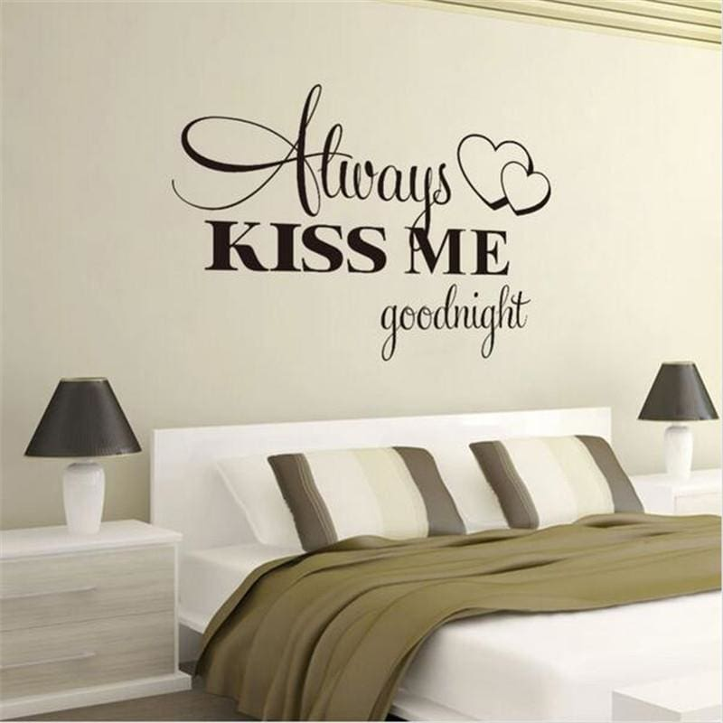 T06014 Romantic Mural Love Vinyl Wall Stickers Bedroom Quotes decals Always Kiss Me Goodnight Home
