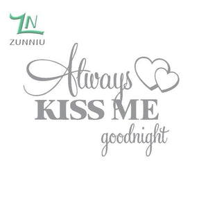T06014 Romantic Mural Love Vinyl Wall Stickers Bedroom Quotes decals Always Kiss Me Goodnight Home - MBMCITY