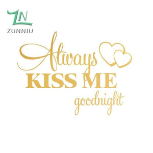 T06014 Romantic Mural Love Vinyl Wall Stickers Bedroom Quotes decals Always Kiss Me Goodnight Home Gold / 42x57cm