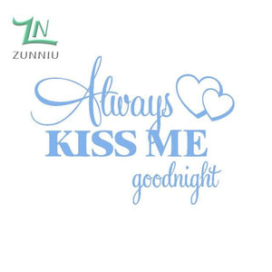 T06014 Romantic Mural Love Vinyl Wall Stickers Bedroom Quotes decals Always Kiss Me Goodnight Home Sky Blue / 42x57cm