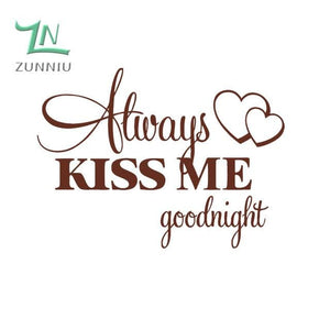 T06014 Romantic Mural Love Vinyl Wall Stickers Bedroom Quotes decals Always Kiss Me Goodnight Home Brown / 42x57cm