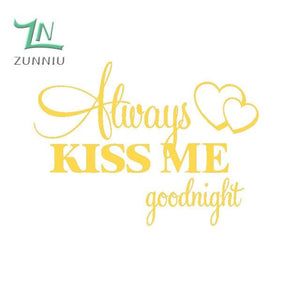 T06014 Romantic Mural Love Vinyl Wall Stickers Bedroom Quotes decals Always Kiss Me Goodnight Home Brimstone Yellow / 42x57cm