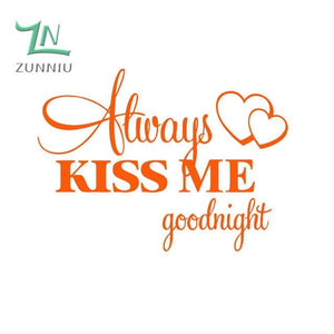 T06014 Romantic Mural Love Vinyl Wall Stickers Bedroom Quotes decals Always Kiss Me Goodnight Home Orange / 42x57cm