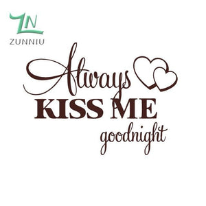 T06014 Romantic Mural Love Vinyl Wall Stickers Bedroom Quotes decals Always Kiss Me Goodnight Home Coffee / 42x57cm