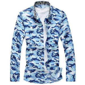 Tangnest 2017 Men Long-Sleeved Shirt Fashion Camouflage Single Breasted Chemise Homme Casual Sky Blue / Xl