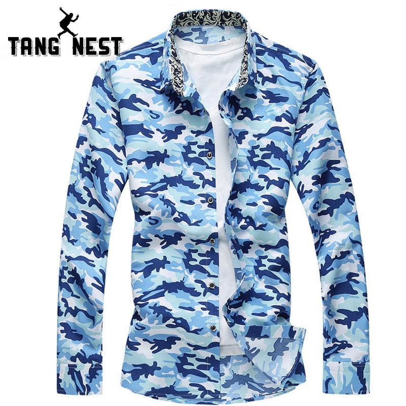 TANGNEST 2017 Men Long-sleeved Shirt Fashion Camouflage Single Breasted Chemise Homme Casual - MBMCITY
