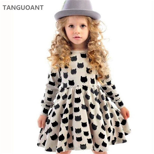TANGUOANT Girl dress cotton long sleeve black stamp elastic pleated Zou comfortable dress stitching - MBMCITY
