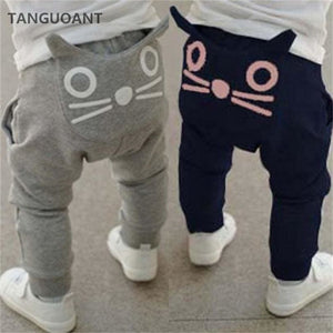 TANGUOANT Retail hot sale spring and autumn kids clothing boys girls harem pants cotton owl trousers