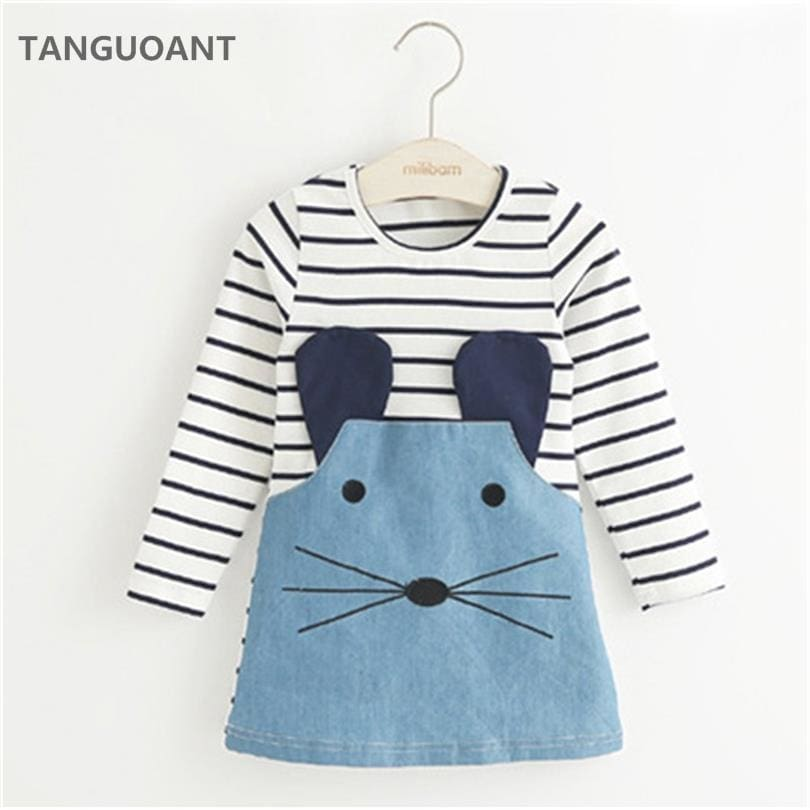 TANGUOANT Striped Patchwork Character Girl Dresses Long Sleeve Cute Mouse Children Clothing Kids - MBMCITY