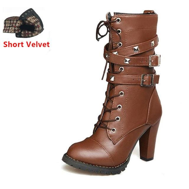 Taoffen Ladies Shoes Women Boots High Heels Platform Buckle Zipper Rivets Sapatos Femininos Lace Up Brown Short Velvet / 6